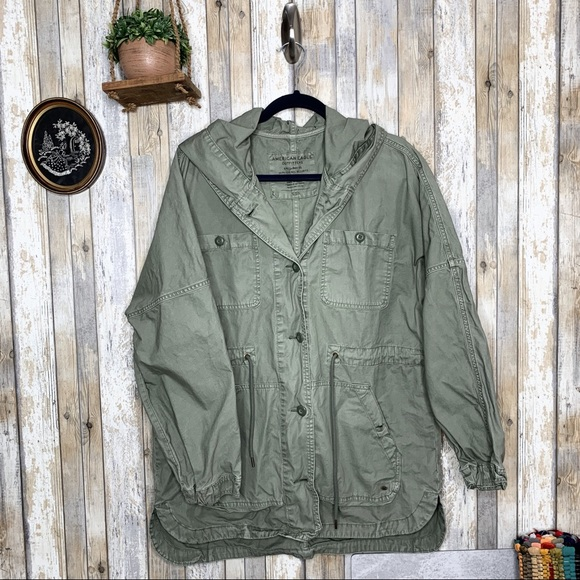American Eagle Outfitters Jackets & Blazers - AEO Green Utility Hooded Jacket